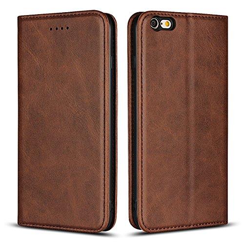 Copmob Funda iPhone 6s Plus, Funda para iPhone 6 Plus,Funda Cuero Premium Carcasa Case Soporte Plegable, Ranuras para Tarjetas y Billetes,Cierre Magnético para iPhone 6s Plus/6 Plus - Marron Oscuro