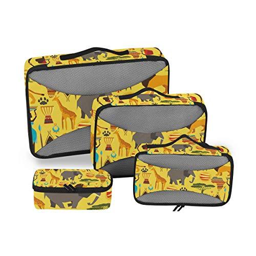 Cubo de embalaje de animales y cultura africana, 4 piezas, accesorios organizadores...