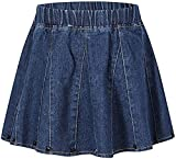 Umeyda Girls' Denim Skirt, Flare A-Line Pleated Denim Skirt for Toddler Little and Big Girls, Rivet Blue, 7-8 Years = Tag 140