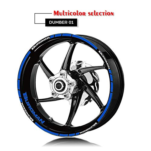 Moto Anteriore Posteriore cerchione adesivo riflettente pneumatici Logo decalcomanie decorative Kit Set for Suzuki Burgman 125 400 650 Mei Racing (Color : XT LQ BURGMAN BLU)