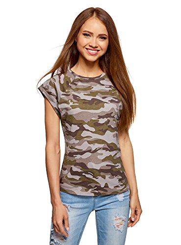 oodji Ultra Mujer Camiseta Estampada de Algodón, Verde, ES 36 / XS