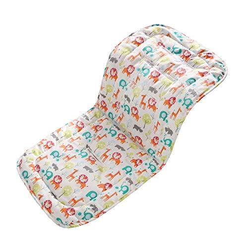 Miracle Baby Cojín Carro Bebe,Colchoneta Silla Paseo Universal Transpirable,Cojín Silla de Paseo para el Cochecito y Asiento de Carro, 100% Algodón, 32x80cm(Zoo)