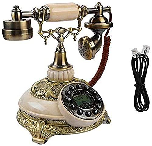 Teléfono Antideslizante De La Línea Fija del Vintage Retro, Delicado Tabletop FSK/DTMF FSK/DTMF Teléfono De Dial Rotativo con Identificador De Llamadas,Regalo/Decoración/Colección para Oficina
