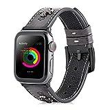 ファッションリベット腕時計バンド 個性 復古風 アップルの本革の腕時計バンド Apple watch series 5/4/3/2/1適用 ブラック 38/40mm