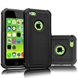 Tekcoo iPhone 5C Case, [Tmajor Series] [Black/Black] Shock Absorbing Hybrid Impact Defender Rugged Slim Case Cover Shell for Apple iPhone 5C Hard Plastic Outer + Rubber Silicone Inner