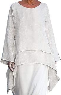 DADKA Womens Blouse Fashion Plus Size Irregular Casual Linen Long Sleeve Crew Neck Blouse