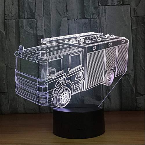 3D Camion De Pompiers Led Lampe D'Illusion Lumière De Nuit,7 Couleurs Décoration Pour Enfant Chambre Chevet Table De Bébé Enfant Cadeau De Noël Fête Anniversaire