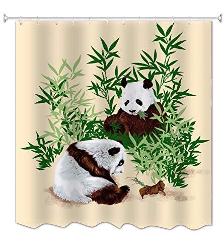 A.Monamour Duschvorhänge Chinesischer Panda Essen Bambus Tier Thematischen Bild Drucken Stoff Polyester Wasserdicht Mehltau Beständig Lange Bad Gardinen Duschvorhänge Set Mit Haken 180X200 cm