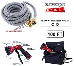 (100ft, Silver) EXPERTO Expandable Garden Hose 3 in 1 KIT + Heavy Duty 8 Pattern Metal Watering Nozzle + Hose Storage Bag