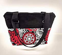 Insulated Lunch tote, lunch box, lunch sack, green lunch bag with straps, school bag, zip top bag, Red and Black Abstract Flower