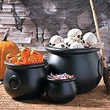 Black Witch Cauldron Set (3 Piece Set) Halloween Decor