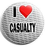 Photo de Grand badge à épingle « I Love Casualty » 75 mm – Cadeau – Anniversaire – Noël – Garniture de chaussettes