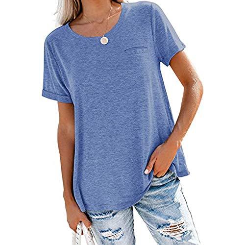 SLYZ 2021 Primavera Y Verano De Las Mujeres Sólido Bolsillo De Cuello Redondo Blusa Suelta De Manga Corta Camiseta