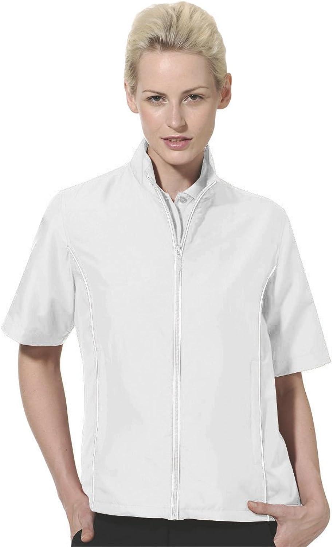 (2XLarge, White)  Monterey Club Ladies Half Sleeve Microfiber Dobby Water Repellent Windshirt 2763