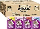 Whiskas 1 + Katzenfutter , Gemischte Auswahl in Gelee, 84 x 100g