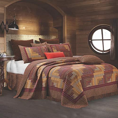 Montana cabina rojo/Tan Colcha Set Queen
