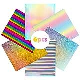 R HORSE 6Pcs Multi-Color Color Glitter Heat Transfer Vinyl HTV Sheets 12'x 10' Iron On Vinyl, Unicorn Color HTV Glitter Bundle of Heat Press Vinyl for T-Shirts Hats Clothing Decor