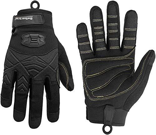 Seibertron Full Finger Padded Palm Lightweight Breathable Climbing Rope Handschuhe/Kletterhandschuhe for Kletterer, Klettern, Rettung, Abenteuer, Segeln, Kajakfahren, Sport imFreien Black M