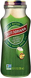 Taste Nirvana Real Coconut Water, Coco Matcha with Matcha Green Tea, 9.5 Ounce Glass Bottles (Pack of 12)