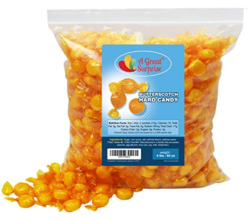 Butterscotch Hard Candy - Individually Wrapped Candy - Yellow Candy - Butterscotch Discs Buttons - Bulk Candy - 4 Pounds