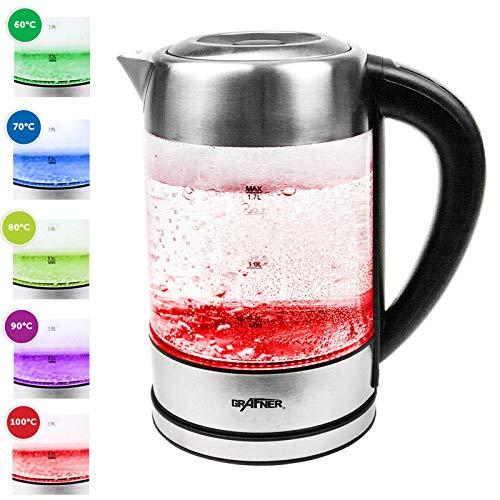 Grafner Glas Edelstahl Wasserkocher mit DECHLORIERFUNKTION, 2200 Watt, 1,7 Liter, LED Beleuchtung, Farbwechsel und Temperaturwahl, optimal für Babynahrung