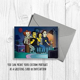 MugKD LLC Horror Movie Fans Custom Portrait Family Portrait Cartoon Personalized Art Boyfriend Gift idea Girlfriend Gifts Fan Posters Myer Scary Clown [No Framed] Poster Home Art Wall Posters (24x36)