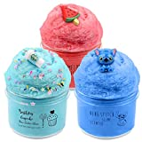 Partyfirst 3 Pack Cloud Slime Kit, with Red Color Watermelon Slime, Coffee Slime and Stitch Slime, Super Soft, Birthday Gifts for Girl and Boy, Christmas Stocking Stuffers