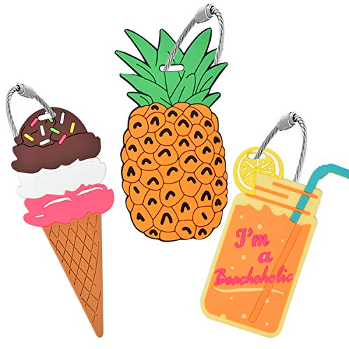 Unique Luggage Tag [3 Pack] Travel Pineapple Ice Cream Drink Bag Identify Label Holiday Gift Ideas