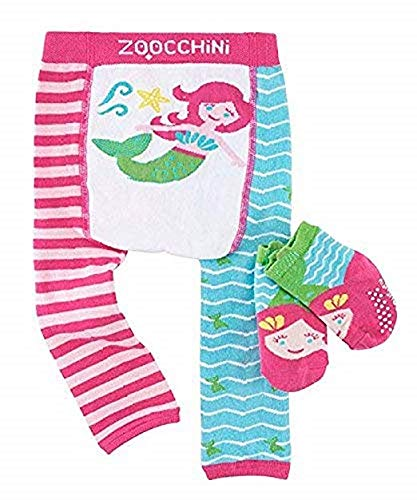 Zoocchini zo-12505 – 6-12 m Leggings and Socks Liner Set, Little Mermaid, 6 – 12 Maanden