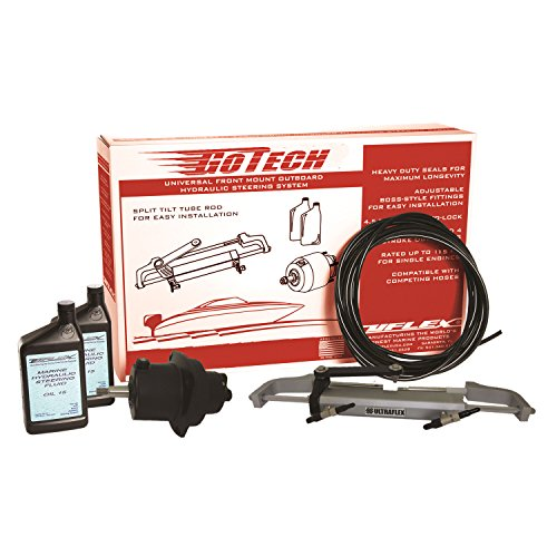 Photo of Box and Parts of a Uflex GoTech 1.0 Hydraulic Boat Steering System