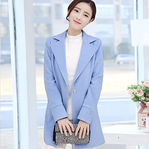 Xuanku Veste en Laine Costume Slim Slim à Manches Longues Col Large Long Manteau