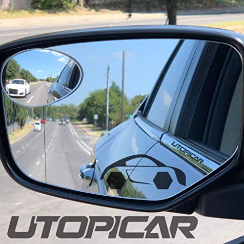 New Blind Spot Mirrors. Can be installed Adjustable or Fixed. Car Mirror for blind side/Door mirrors by Utopicar. Larger image and traffic safety. Wide angle rear view! [frameless design] (2 pack)
