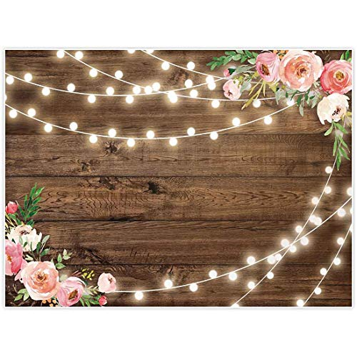 Allenjoy 8x6ft Fabric Rustic Floral Wooden Backdrop for Baby Shower Bridal Wedding Studio Photography Pictures Brown Wood Floor Flower Wall Background Newborn Birthday Party Banner Photo Shoot Booth