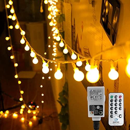 Kugel Lichterkette, WOWDSGN 200 LEDs Lichterkette 20m Dimmbar, Partylichterkette mit Stecker für Innen und Außen, 8 Leuchtmode, strombetrieben, ideal für Weihnachten, Hochzeit, Party, Garten, Warmweiß