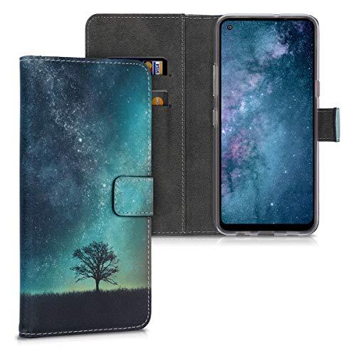 kwmobile Hülle kompatibel mit LG K51S - Kunstleder Wallet Hülle mit Kartenfächern Stand Galaxie Baum Wiese Blau Grau Schwarz