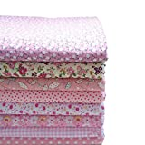 KING DO WAY 8 Pezzi di Tessuti Stampati in Cotone per Cucito, Stoffa Rosa per DIY/Artigiano/Fatti a Mano, Tessuti Patchwork Quadrati da Cucito 50x50CM