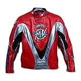 Mv Agusta rote Motorradjacke für Herren und Damen, Premium-Lederjacke, CE-Schutz Gr. S, rot