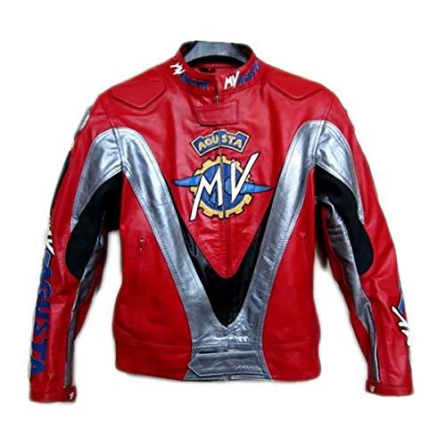 Mv Agusta - Chaqueta de piel perforada con diseño rojo