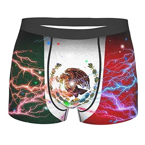 DPQZ Boxershorts für Herren Unterwäsche Mexikanische Flagge Flash Stretch Trunks Short Leg Gr. L, Schwarz