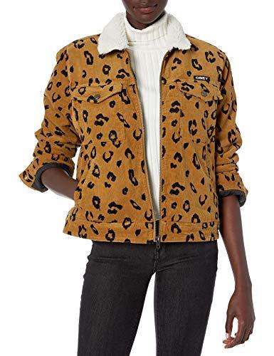 Obey Damen Abbott Sherpa Jacket Jacke, Leopard, Mittel