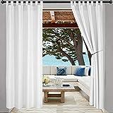 LORDTEX Indoor/Outdoor Vorhänge – Wasserdicht Tab Top Patio Vorhänge Sun Blocking Set von 2 Paneelen Thermal Insulated Vorhang für Veranda, Pergola, Cabana, Pavillon, 132,1 x 213,4 cm, Weiß