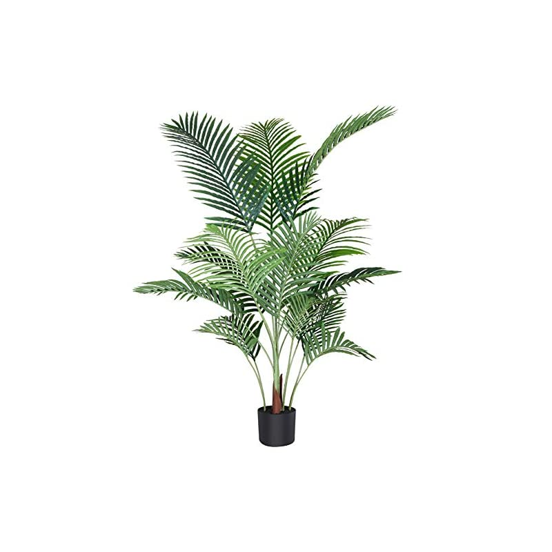silk flower arrangements fopamtri artificial areca palm plant 4.6 feet fake palm tree with 15 trunks faux tree for indoor outdoor modern decor feaux dypsis lutescens plants in pot for home office perfect housewarming gift