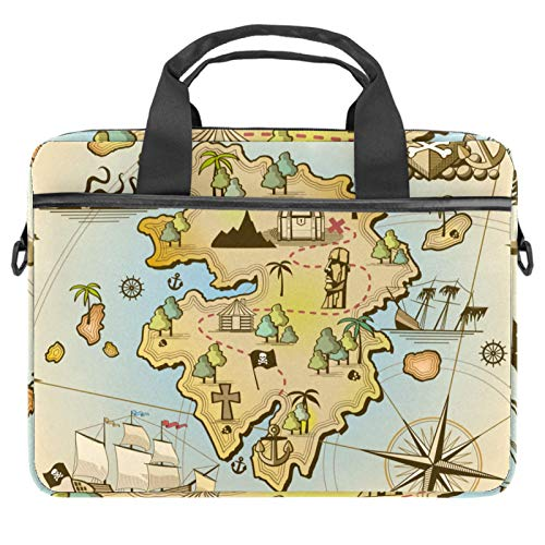 Laptop Bag Antique Nautical World Map Compass Notebook Sleeve with Handle 13.4-14.5 inches Carrying Shoulder Bag Briefcase