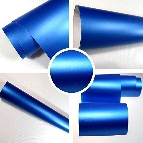 TipTopCarbon 8,55€/m² Matt blau 152cm breit Blasenfrei Autofolie selbsklebend mit Luftkanäle 3D Flex Folie Auto