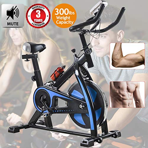 Exercise Bike Recumbent Cycle Bike Trainer Indoor Cycling Bike Stationary with LCD Display and Bottle Holder Static Spin Exercise & Fitness Equipment for Home Office Cardio Workout Bike Training Blue Bikes Exercise flywheel indoor recumbent upright