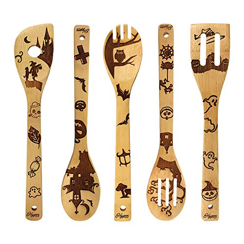 Halloween Decorations Gifts Wooden Spoons Great Utensil Set Fun Gift Idea Serving Utensils Burned Bamboo Spoon Best Kitchen Present Slotted Spoon 5 Piece