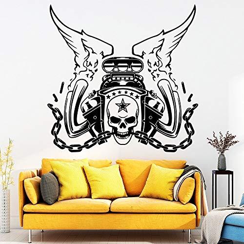 Pegatina de pared de vinilo de coche clásico con logo de calavera para decoración del hogar, calcomanías de pared, accesorios de decoración, papel tapiz para decoración de habitación de niños