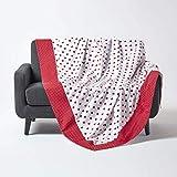 Homescapes Patchwork-Tagesdecke mit Herz-Muster, rot, Gepunkteter Bettüberwurf aus 100prozent Baumwolle, 150 x 200 cm, perfekt als Krabbeldecke, Babydecke
