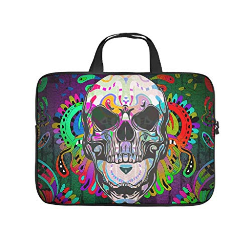 Colourful Mandala Skull Printed Laptop Case Protective Case Waterproof Neoprene Laptop Bag Case Notebook Bag Computer Accessories