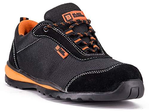 Black Hammer Mens Steel Toe Cap Safety Trainers Ultra Lightweight Kevlar Midsole Work Shoes Ankle Boots Hiker4444 S1P SRC Non Slip (10 UK)
